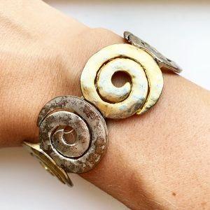 Vintage boho gold & silver swirl segment bracelet